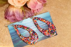 Candy Rainbow Sprinkle Tear Drop Resin Earrings by tranquilityy, $6.99