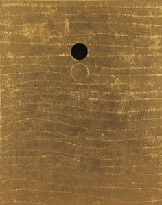 """jaume-pinya: """" Nobuo Sekine Shadow of a moon B gold leaf on Japanese paper (H W in. Giuseppe Penone, Tantra Art, Modern Art, Contemporary Art, Francis Picabia, Painted Leaves, Japanese Paper, Aboriginal Art, Pablo Picasso"""