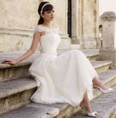 Tea Length Scalloped Neck Lace A-line Wedding Dress with Ribbon