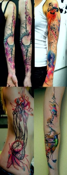 Armlength watercolor tattoos