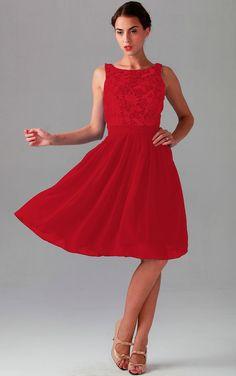 Jewel Knee-length Natural Zipper Chiffon Bridesmaid Dresses