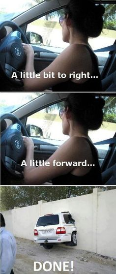 Funny Memes: Women Drivers - NoWayGirl me when I park xD Funny Cute, Haha Funny, Funny Memes, Jokes, Lol, Funny Stuff, Funny Things, Funny Shit, Meme Meme