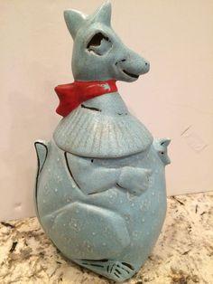 Vintage McCoy Blue Kangaroo Pottery Cookie Jar 1965 Rare Collectible