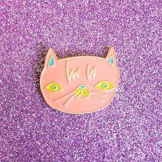 Cat Lapel Pin - Peach Cat Enamel Pin - Cute Cat - Precious Kitty - Light Pastel Coral Cat Enamel Lapel Pin