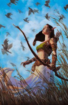 Elven Huntress by Murphyillustration
