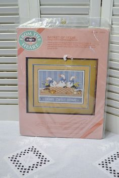 Vintage Basket of Geese Crewel Embroidery Kit Dimensions 1987 Unopened DIY Instructions PanchosPorch Elizabeth King, Crewel Embroidery Kits, Vintage Baskets, So Creative, Sweet Home, Sewing, Frame, Prints, Diy