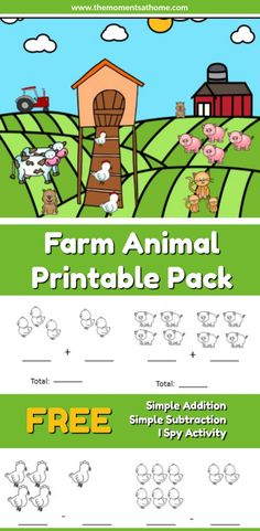 These farm animal printable worksheets are perfect for early leaning in preschool or kindergarten. Free printable math worksheets for kids. #earlylearning #printablemathworksheet #farmactivitiesforkids
