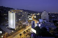 Aerial view of Andaz West Hollywood, The Sunset Strip, and the Hollywood Hills.