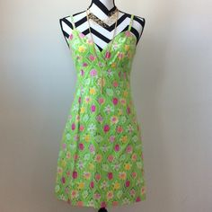 "Lilly Pulitzer dress Lilly Pulitzer dress super cute bugs and fruit design. Adjustable spaghetti straps. Deep V neck. Back zip and hook closure. Approx 33"" shoulder strap to hem. Lined. 97 cotton 3 spandex. Size 6. Excellent condition. Lilly Pulitzer Dresses Mini"