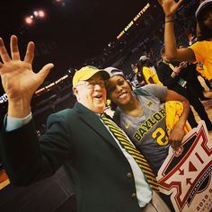 A big #SicEm from our Bear-in-Chief, President Starr, after watching Baylor Women's Basketball win their 6TH STRAIGHT Big 12 tournament title!!