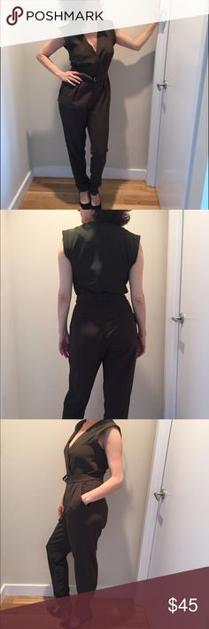 Kardashian forest green pantsuit! One piece with back zip and belt. Poly and sexy cut. Kardashian Kollection Other