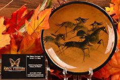 Polia Pillin Pottery Tray, five Horses This beautiful Polia Pillin bowl displays five horses reminiscent of ancient cave paintings. It is a great example on a tan orange background. Orange Background, Mid Century Art, Modern Ceramics, Orange Brown, Byzantine, Pottery Art, Mid-century Modern, Tray, Horses