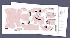 """Briefkaart """"Mini varkens"""" aan de bebouwbare. DIY boog DIY 210x105mm"""