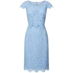 Jacques Vert Layer Lace Dress ($105) ❤ liked on Polyvore featuring dresses, sale women dresses, lace cocktail dresses, blue lace dress, blue cocktail dress, holiday shift dresses and lace shift dresses