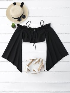 SHARE & Get it FREE | Ruffles Cropped Cold Shoulder Top - BlackFor Fashion Lovers only:80,000+ Items • New Arrivals Daily Join Zaful: Get YOUR $50 NOW!