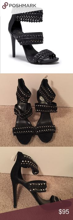 Brand new Vince Camuto fancle black dress heels Brand new no box, size 9.5M, authentic.         Width: B(M) Upper: Leather Outsole: Man-Made Heel Height: 4.25 Width Description: Medium Heel Height Description: Over 3 inch Type: Dress heels Vince Camuto Shoes Heels
