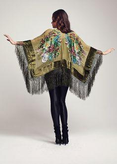Velvet Fringe Kimono - Olive Green