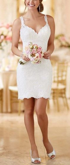 Stunning little while dress for a civil wedding. | mysweetengagement.com