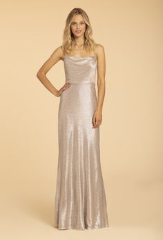 Style 52008 Hayley Paige Occasions bridesmaid gown - Rose Silver liquid metallic A-line gown, curved draped neckline, natural waist. Arriving in stores early 2020 Purchase a color swatch here. Milwaukee, Plus Size Wedding Gowns, Bridesmaid Dresses, Prom Dresses, Wedding Bridesmaids, Hayley Paige, Allure Bridal, A Line Gown, Bridal Fashion Week