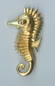 Large Vintage Vendome Goldtone Seahorse Brooch 2.5 long x 1.5 wide. In excellent condition. Intricate casting with bright goldtone finish. Lovely. Would work just as well as a tux brooch or lapel pin. (C7) ~~~~~~~~~~~~~~~~ We sell select vintage items. They are not new, and rarely look new. They are, in many cases, older than we are – they have seen life and times. We do not repair or replace parts on any of the items we sell. They came to us in the condition they are now, and are sold as…