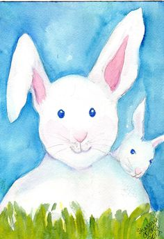 Rabbits Watercolors Paintings original, Big and little bunny rabbit original watercolor painting, white baby bunny, white rabbit on blue by SharonFosterArt on Etsy