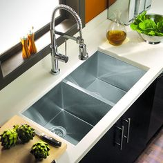 The Houzer Contempo Series Zero-Radius Undermount Double Bowl is beautifully articulates the excitement of contemporary kitchen design. It's exacting looks, sharp angles and clean…More Modern Kitchen Sinks, Steel Kitchen Sink, Double Bowl Kitchen Sink, Farmhouse Sink Kitchen, Kitchen Sink Faucets, Modern Farmhouse Kitchens, Kitchen Redo, Kitchen And Bath, New Kitchen
