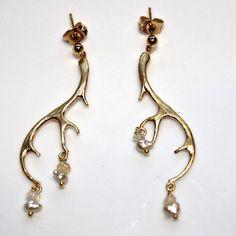 Antler Keshi Pearl Ethiopian Opal Gold Vermeil Dangle Earrings