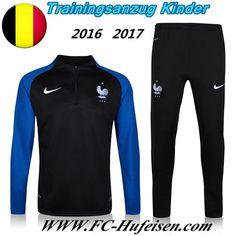 Schönsten Neue Fußball Trainingsanzug Frankreich Kinder Kits Schwarz/Blau 2016 2017 Meaney