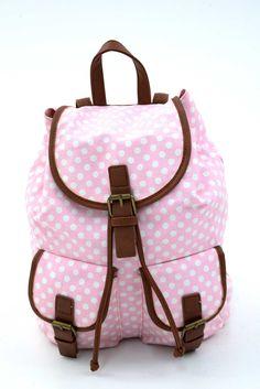 Γυναικείο σακίδιο πουά σε ροζ & άσπρες αποχρώσεις. Κλείνει με μαγνητικό κούμπωμα και το ύφασμα του είναι εξαιρετικής ποιότητας canvas. Backpacks, Bags, Fashion, Handbags, Moda, Fashion Styles, Backpack, Fashion Illustrations, Backpacker
