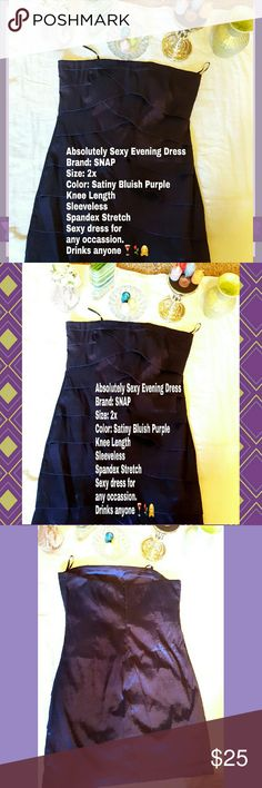 WANTED: PLUS SIZE DYNAMIC WOMAN Evening Dress for a Voluptuous Full Size Queen, Princess or Diva!  *WORN ONE TIME TO AN EVENT Absolutely Sexy Evening Dress Brand: SNAP Size: 2x Color: Satiny Bluish Purple  Knee Length  Sleeveless  Spandex Stretch  Sexy dress for any occassion. Drinks anyone ????? Snap Dresses Strapless