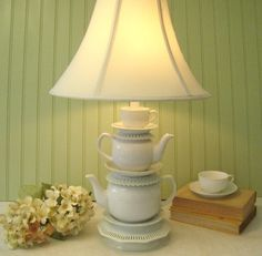 """White Teapot Lamp and Tea Cup Reticulated Saucers Alice in Wonderland Shabby Chic French Country Cottage, """"Alison"""" Series No. XXXI"""