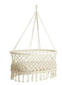 Scandinavian hanging cradle. Saw these in Cabo at the little shops. Would be so sweet for outdoor summer naps! Love!