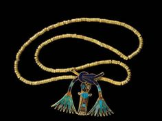 """egypt-museum: """" Clasp of Princess Sithathor This clasp takes the form of two lotus flowers, between them hangs an image of the Goddess Bat. It will originally have fitted to a necklace. Fastener of a. Egypt Jewelry, Viking Jewelry, Ancient Egyptian Jewelry, Ancient Egypt Fashion, Egypt Museum, Art Ancien, Long Pearl Necklaces, Ancient Artifacts, Ancient Civilizations"""
