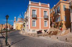 The Neo Classic buildings & Greek OrthodoxChurchof Saint Nicholas, Ermoupolis, Syros, Greek Cyclades Islands Western Coast, Classic Building, Old Mansions, In Ancient Times, Small Island, Travel Images, Greek Islands, Pictures Images, The Locals