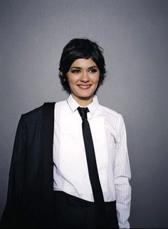 Audrey Tautou looking reservoir dogs-ish in her black skinny tie