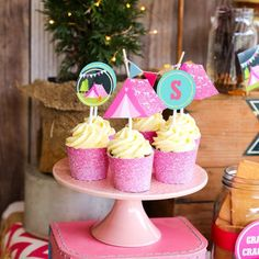 Glamping Party Cupcake Toppers - Camp Out Toppers - Glamping Cupcake Wrappers - Instant Download + Edit File at Home with Adobe Reader