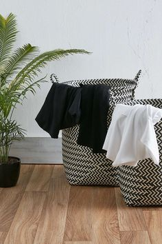 Attractive and functional - we'll take two. Monochrome laundry baskets from Urban Outfitters UK. Woven Laundry Basket, Washing Basket, Woven Storage Baskets, Black Laundry Basket, Basket Storage, Storage Bins, Black Rooms, Home Trends, Urban Outfitters