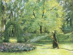 Max Liebermann - Watering the flowers at Wannsee (1920)