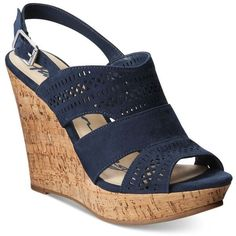American Rag Mirranda Platform Wedge Sandals, ($60) ❤ liked on Polyvore featuring shoes, sandals, navy, cutout sandals, navy sandals, platform wedge sandals, cut-out shoes and sport sandals