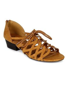 Qupid CB51 Women Burninshed Leatherette Open Toe Cut Out Lace Up Chunky Heel Sandal - Cognac >> Stop everything and read more details here! : Lace up sandals