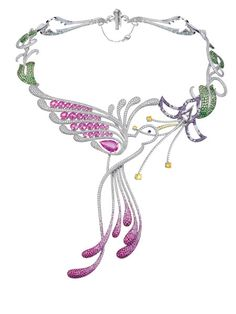 A Magnificent Diamond and Gemset Hummingbird Necklace:   Designed as a humming bird drinking from a flower,   set with pink sapphires, diamonds and precious gemstones