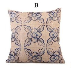 Blue and white flower pillow for sofa Chinese style cheap throw pillows