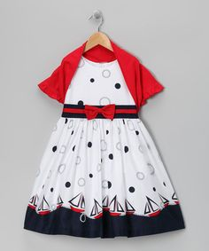 Take a look at this White Sailboat Dress & Red Shrug - Toddler & Girls by Jayne Copeland on #zulily today!