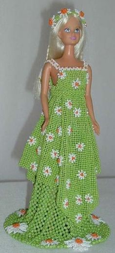 """Handmade beaded outfit for Barbie or 12"""" same size doll"""