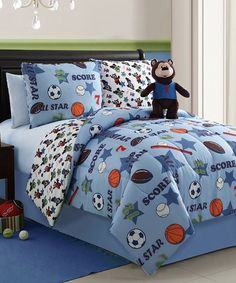 Take a look at this Brady Bear Twin Reversible Comforter Set by Victoria Classics on #zulily today!
