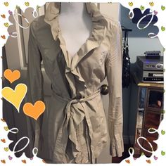 ⚡️REDUCED!⚡️INC RUFFLED KHAKI DUSTER / JACKET Wear closed using the hook and eye down the front or wrap tight or loose with the self fabric belt.  Light spots on right lapel, not very noticeable and almost covered by the lapel.  Worn once. 97% cotton, 3% spandex. INC International Concepts Jackets & Coats