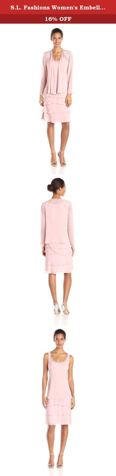 S.L. Fashions Women's Embellished Jacket Dress, Faded Rose, 14. Tiered dress and jacket.