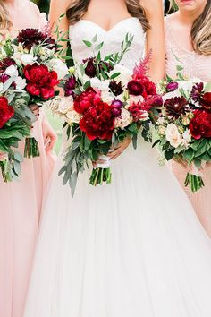 Blush and Red Wedding Bouquet | Blush Bridesmaid Dresses