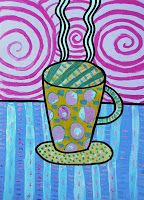 Funny cups painted with tempera! This is a good exercise to learn how many textures you can paint with tempera colours, and how many wa. Creative Activities, Art Activities, Creative Arts Therapy, Funny Cups, Mug Art, Art Lessons Elementary, Winter Art, Pattern Drawing, Art Lesson Plans