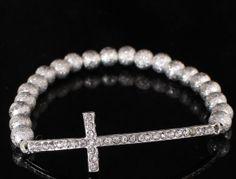 New Arrivold Stretch bead bracelet with Rhinestone Cross Charm